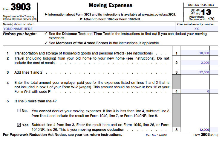 Tax Form 3903 Moving Expenses Example