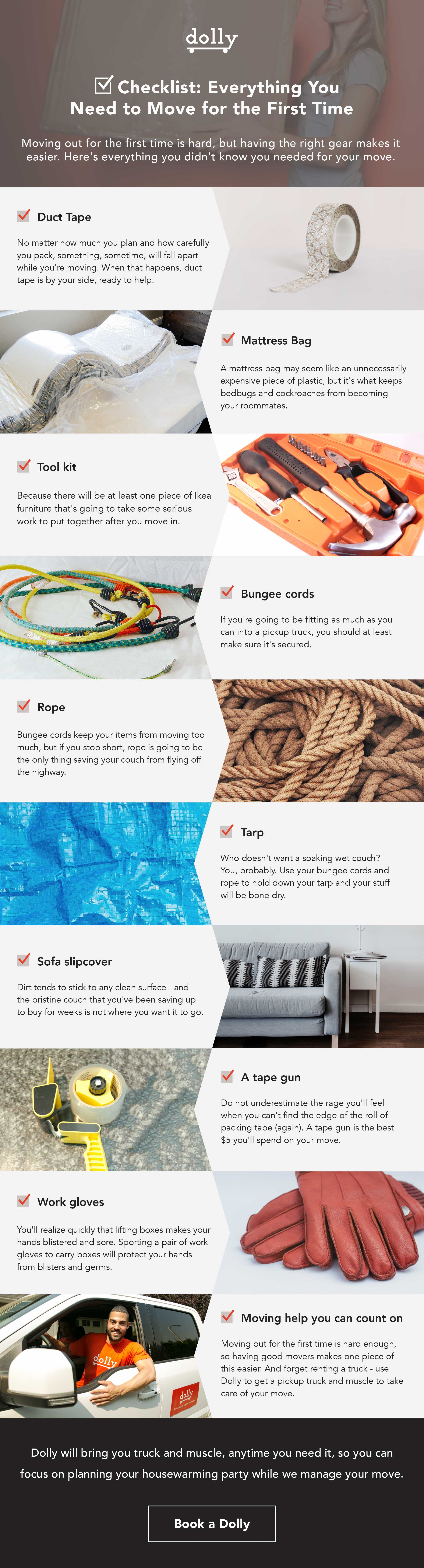 Checklist for everything you need to move for the first time, including duct tape, mattress bag, tool kit, bungee cords, rope, tarp, couch slipcover, tape gun, work gloves, and moving help you can count on like Dolly.