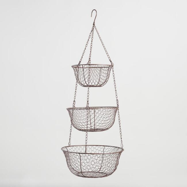 Utilize The Ceiling In Your Small Kitchen By Hanging A Three Tiered Wire  Basket In One Corner. This Is A Great Cost Effective Storage Option And The  Baskets ...
