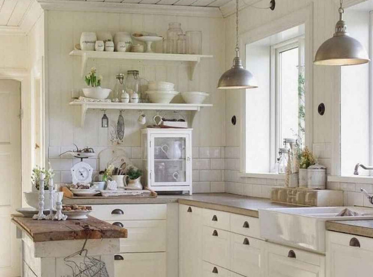 White Wood Country Farmhouse Kitchen Finish